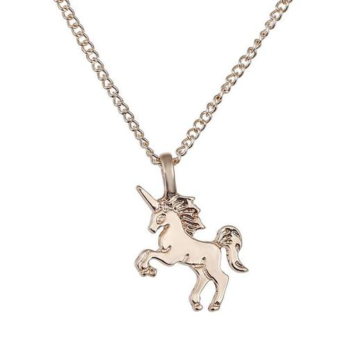 Women Girls Ladies Unicorn Alloy Necklace Gold Silver Pendant Vintage Jewelry Choker Chunky Chain-Women Necklaces-inSowni