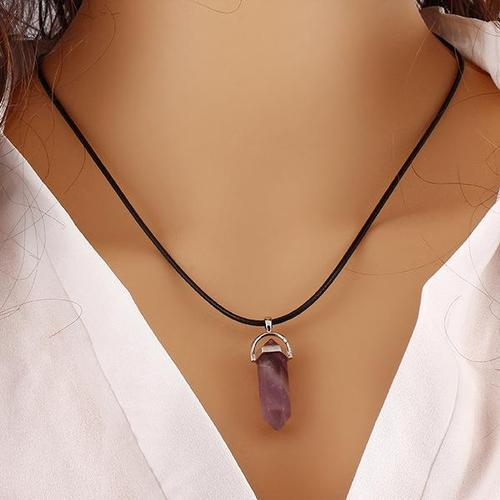 Women Girls Men Rose Quartz Turquoise Necklace Opal Natural Stone Pendant Leather Chain Gift-Women Necklaces-inSowni