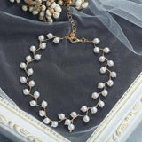 Women Girls Pearl Choker Chunky Necklace Pendant Silver Gold Vintage Jewelry Teal Long Chain-Women Necklaces-inSowni