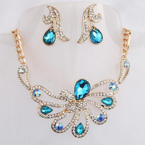 Women Gold Rhinestone Crystal Necklace Earrings Jewelry Sets Teal Long Chain Lady Display Gift-Women Necklaces-inSowni