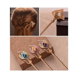 Women Lady Girl Bride Hairpin Hair Stick Clip Bun Maker Holder Styling Braiding Tool Kit Flower Pearl Rhinestone Retro Peacock-Hair Stick-inSowni