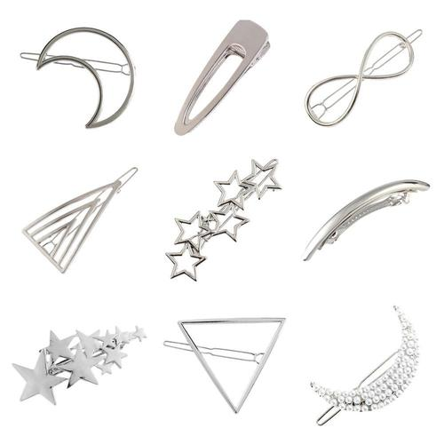 Women Lady Girl Korean Silver Vintage Retro Circle Moon Star Pearl Metal Hair Clip Snap Barrette Comb Claw Clamp Hairpin-Women Hair Clips-inSowni