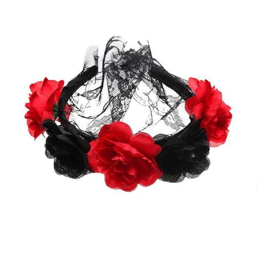 Women Lady Girl Rose Flower Headband Hair Hoop with Mesh Veil Halloween Party Costume-Hair Hoops-inSowni