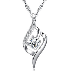 Women Lady Girls 925 Silver Crystal Rhinestone Pendant Necklace Sterling Jewelry Fashion Gift-Women Necklaces-inSowni