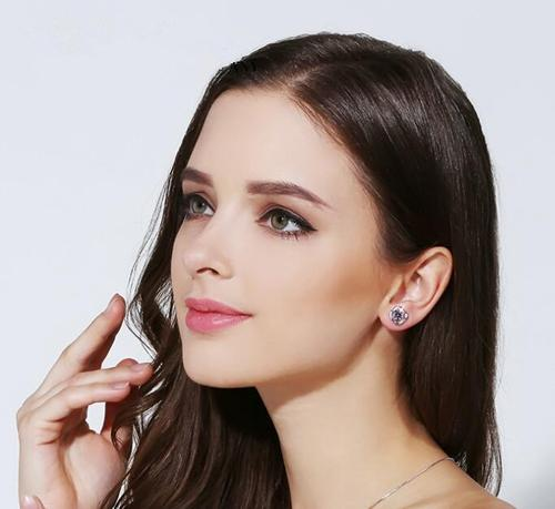 Women Lady Girls 925 Silver Flower Earings Crystal Party Club Ear Stud Fashion Popular Sterling Gift Accessories Jewelry-Women Earrings-inSowni