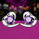 Women Lady Girls 925 Silver Love Purple Rhinestone Ear Stud Crystal Party Club Earings Fashion Popular Sterling Gift Accessories Jewelry-Women Earrings-inSowni