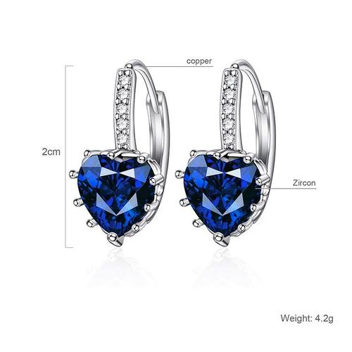 Women Lady Girls Crystal Love Rhinestone Ear Stud Pink Blue White Ear Clip Earrings Party Club Fashion Popular Gift Accessories Jewelry-Women Earrings-inSowni