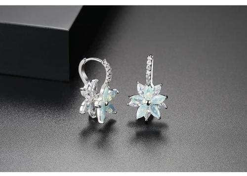 Women Lady Girls Crystal Rhinestone Ear Stud Pink Blue Flower Earings Party Club Fashion Popular Gift Accessories Jewelry-Women Earrings-inSowni
