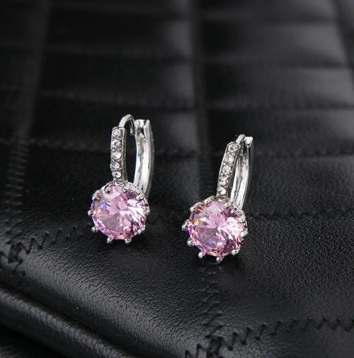 Women Lady Girls Crystal Rhinestone Ear Stud Pink Blue White Earings Party Club Fashion Popular Gift Accessories Jewelry-Women Earrings-inSowni