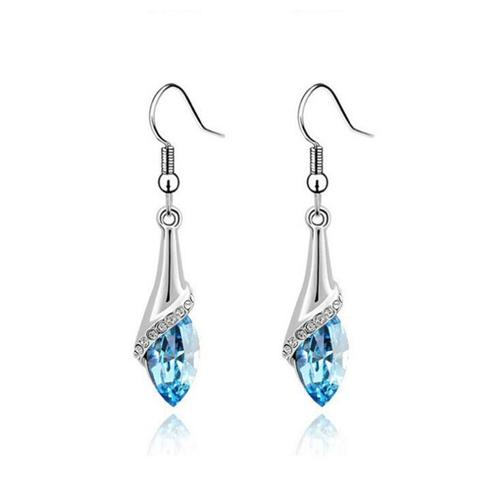 Women Lady Girls Crystal Rhinestone Ear Stud Red Green Blue Long Hook Earrings Party Club Fashion Popular Gift Accessories Jewelry-Women Earrings-inSowni