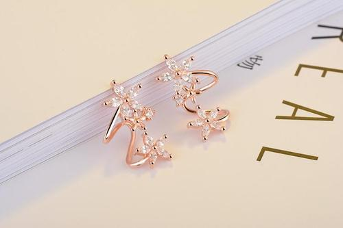 Women Lady Girls Crystal Rhinestone Flower Ear Stud White Rose Gold Earrings Ear Clip Party Club Fashion Popular Gift Accessories Jewelry-Women Earrings-inSowni