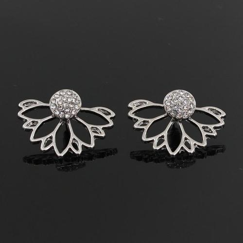 Women Lady Girls Elegant Lotus Silver Gold Flower Earings Crystal Party Club Ear Stud Fashion Popular Gift Accessories Jewelry-Women Earrings-inSowni