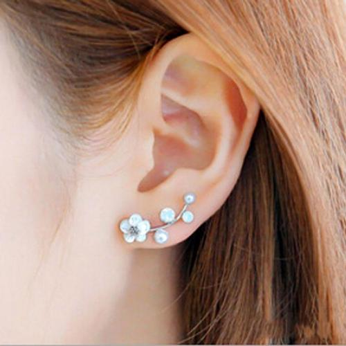 Women Lady Girls Elegant Wintersweet Alloy Gold Silver Flower Branch OL Earings Party Club Ear Stud Fashion Popular Gift Accessories Jewelry-Women Earrings-inSowni
