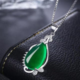 Women Lady Girls Green Red Agate Pendant Necklace Wedding Long Chain Jewelry Fashion Gift-Women Necklaces-inSowni