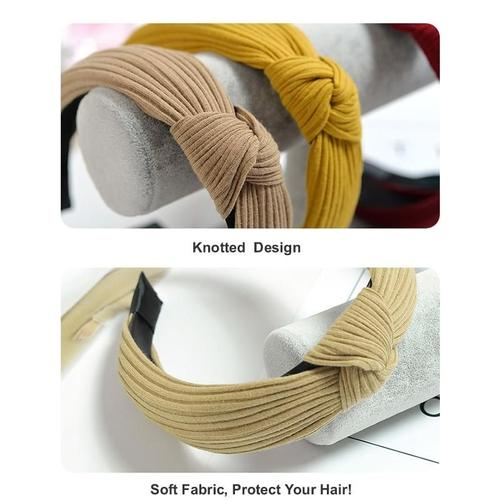 Women Lady Girls Knotted Twist Headwrap Headpiece Headdress Headband Hair Hoop for Washing Face Makeup Sports Running Yoga-Hair Hoops-inSowni
