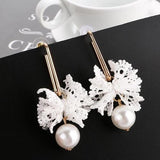 Women Lady Girls Lace Flower Long Earings Crystal Pearl Party Club Ear Stud Fashion Popular Gift Accessories Jewelry-Women Earrings-inSowni
