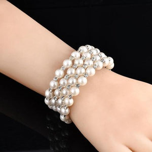 Women Lady Girls Multilayer Pearl Crystal Bracelet Bangles Wedding Bridal Jewelry Wristband Gift-Women Bracelet-inSowni