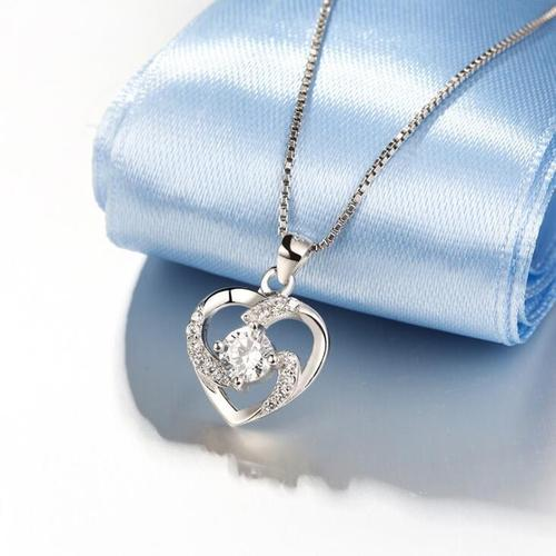 Women Lady Love Heart Silver White Purple Rhinestone Pendant Necklace Sterling Jewelry Long Chain-Women Necklaces-inSowni