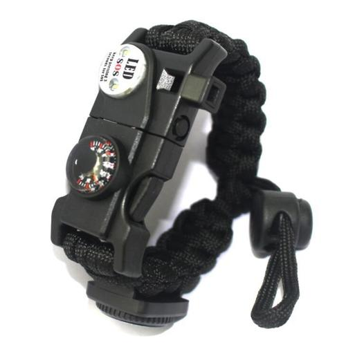 Women Men's Compass Parachute Rope Bracelet Wristband Outdoor Survival Hiking Climbing-Bracelet-inSowni