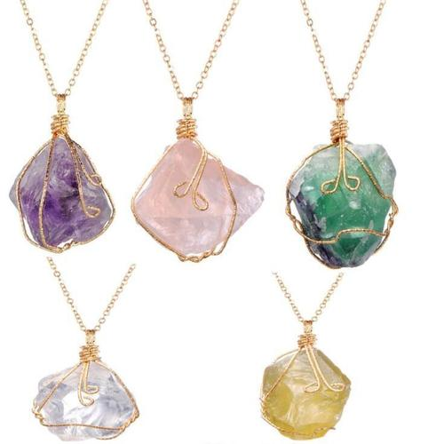 Women Original Stone Amethyst Rose Quartz Necklace Pendant Vintage Punk Gold Plated Chain Jewelry-inSowni