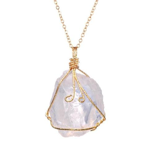 Women Original Stone Irregular Amethyst Rose Quartz Necklace Pendant Vintage Punk Gold Plated Chain-Women Necklaces-inSowni