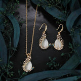 Women Peacock Opal Crystal Necklace Earrings Wedding Party Jewelry Set Long Chain Pendant-Women Necklaces-inSowni