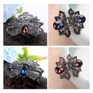 Women Retro Vintage Black Brown Octopus Butterfly Metal Hair Claw Clips Clutcher Jaw Barrette Gribs Clamp Hairpin Crystal Flower-Hair Claws-inSowni