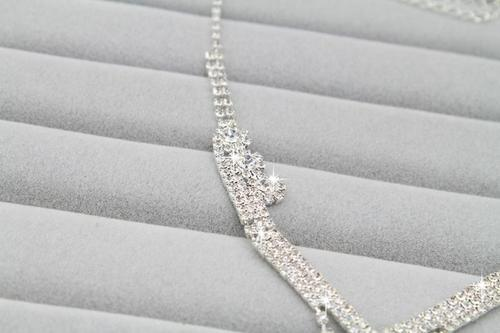 Women Rhinestone Crystal Necklace Earrings Wedding Bridesmaid Jewelry Set Long Chain Gift-Women Necklaces-inSowni