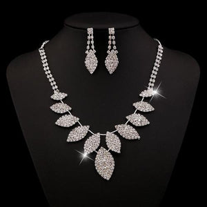 Women Rhinestone Crystal Necklace Earrings Wedding Party Bridesmaid Jewelry Set Long Chain-Women Necklaces-inSowni