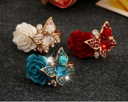 Women Rose Flower Butterfly Alloy Rhinestone Crystal Rings Vintage Jewelry Size Wedding Finger Ring-Women Necklaces-inSowni