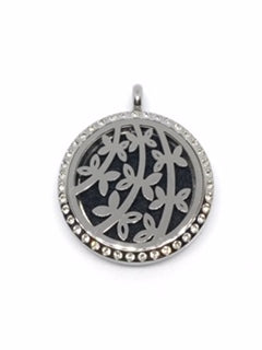 Aromatherapy Diffuser Locket (Pendant) Branches & Leaves w/Crystals 30mm