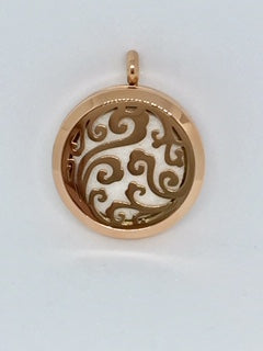 Aromatherapy Diffuser Locket (Pendant) Cloud Swirls, Rose Gold 30mm