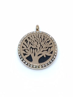 Aromatherapy Diffuser Locket (Pendant) Tree Of Life w/Crystals, Rose Gold 30mm