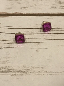 Hot Pink Square Crystal Stud Earrings