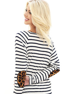 White & Navy Striped Top with Leopard Elbow Patches