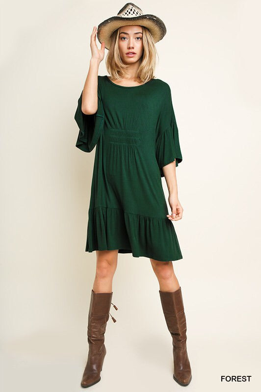 Forest Green Ruffle Hem Dress