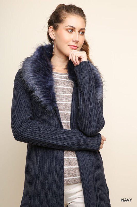 Navy Fur Collar Long Sweater