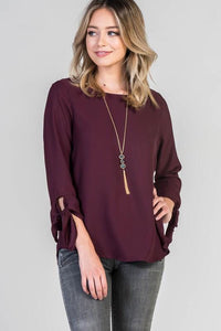 Wine Tie Sleeve Blouse