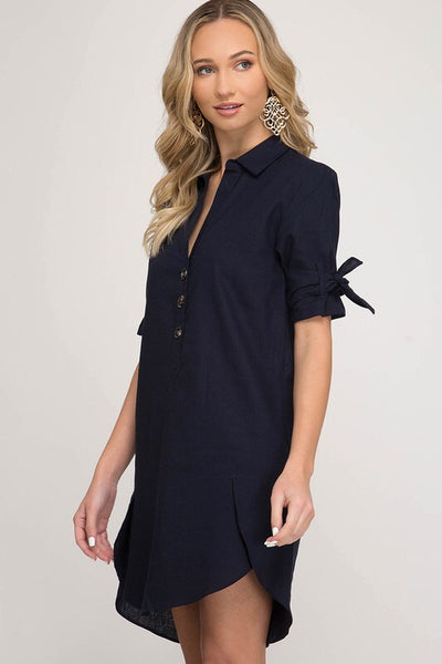 Navy Button Front Dress