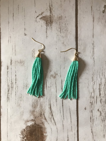 Turquoise and Gold Seed Bead Tassel Earrings
