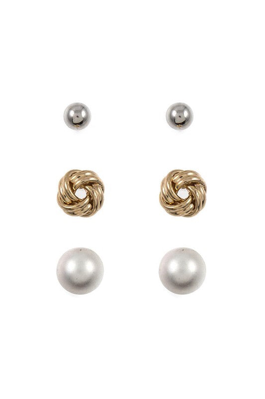 Pearl Gold Knot Trio Earrings Set