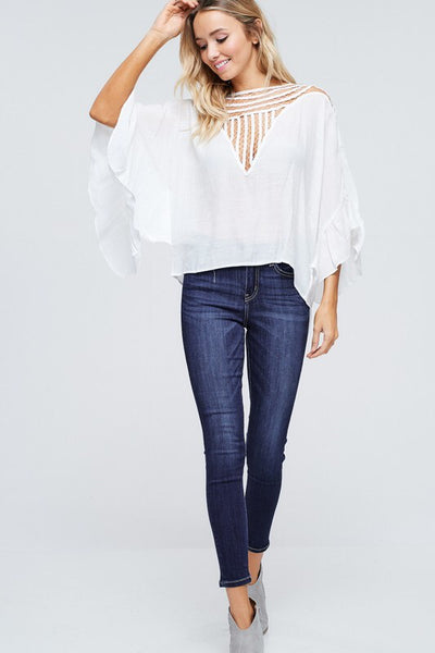White Cutout Date Night Blouse