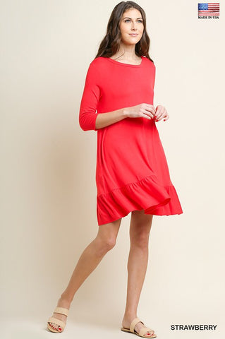 Beach Washed Red Ruffle Hem Dress