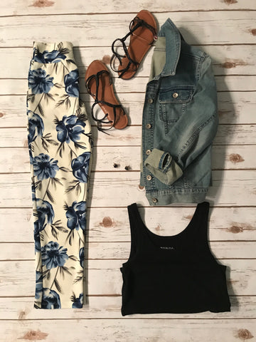 Blue and White Cropped Floral Pants