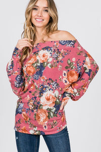 Rose Floral Wide Neck Top