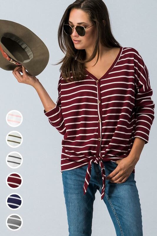 Wine Striped Tie Front Top