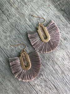 Gray U Shaped Tassel Earrings