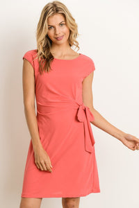 Coral Faux Wrap Dress