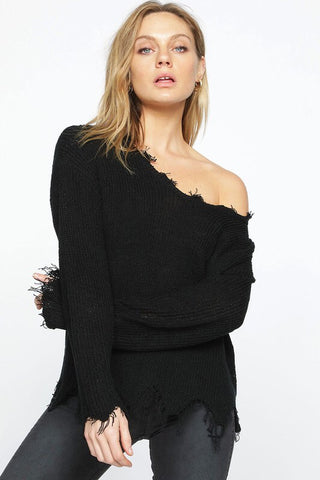 Black Distressed Wide Neck Sweater