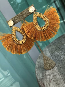 Mustard Fringe Statement Earrings